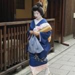 Geisha komt in een sneltreinvaart voorbij lopen